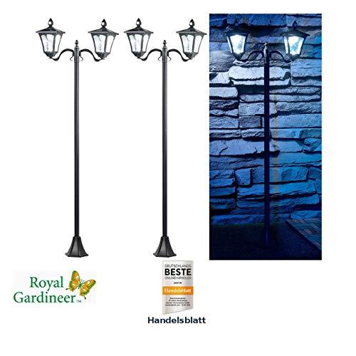 Royal Gardineer Wegeleuchten: 2er-Set Solar-LED-Gartenlaterne, 2 flammig, PIR- & Dämmerungssensor (Solarleuchte mit Bewegungsmelder)