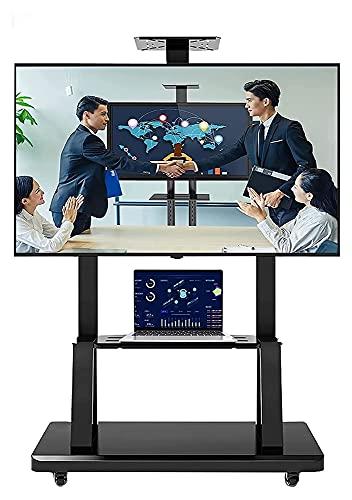 TabloKanvas Soporte de TV móvil con ruedas para dormitorio, carrito de TV con altura de almacenamiento, soporte de pantalla ajustable (color negro)
