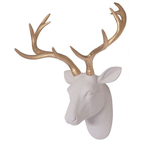 Faux Deer Head Wall Decor, White Fake Furry/Felt/Velvety Resin Deer Head With Gold Antlers for Home/Bar/Office, Size 16' x 12.5' x 7.5' By Smarten Arts