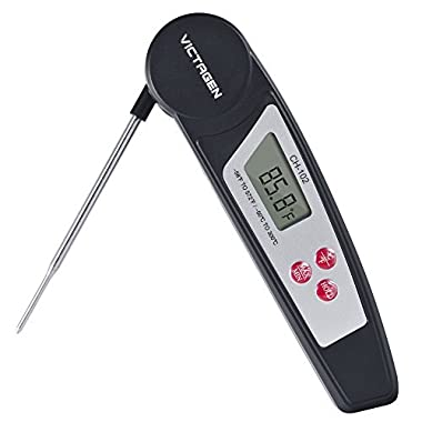Victagen Instant Reading Thermometer Super Fast Digital Electronic Food Thermometer Cooking Meat Thermometer with Collapsible Internal Probe for Kitchen Cooking BBQ Grill Smoker Candy Outdoor