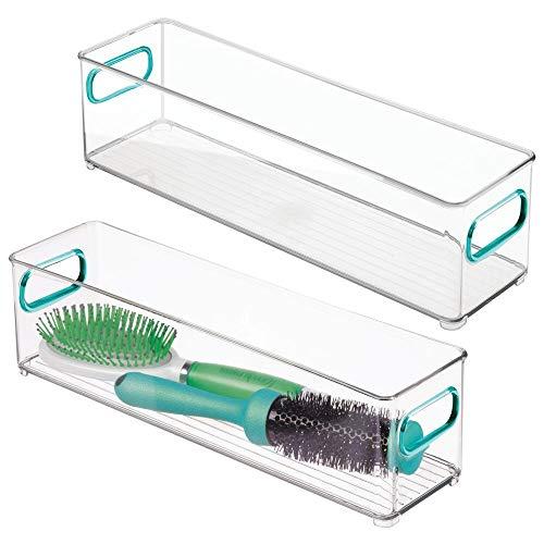 mDesign - Opbergbox - opbergbak - voor het organiseren van handzeep, douchegel, shampoo, lotion, conditioner, handdoeken, haaraccessoires, lichaamsspray, mondwater - geïntegreerde handvatten/10 cm - doorzichtig/blauw - doorzichtig/blauw