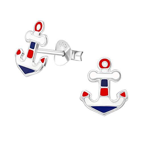 Laimons Damen-Ohrstecker Anker 10mm im Maritim Design weiß blau rot Sterling Silber 925