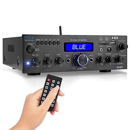 Wireless Bluetooth Home Stereo Amplifier - Multi-Channel 200 Watt Power Amplifier Home Audio Receiver System w/HDMI, Optical/Phono/Coaxial, FM Radio, USB/SD, AUX, RCA, Mic in - Remote - Pyle PDA9HBU