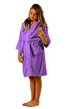 BY LORA Hoooded Robe for Girls Boys Petites Terry Bathrobe Robe Shower Robe Lavender Size Large