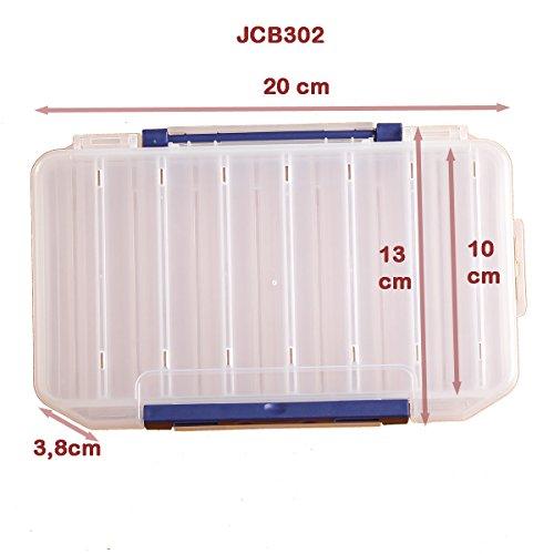 KANANA Plastikbox Angelbox Köderbox zubehörbox Angel Box TACKLEBOX für Fische, Zubehör, Modell und Große:JCB302 2-Seitig 20x13x3.8cm