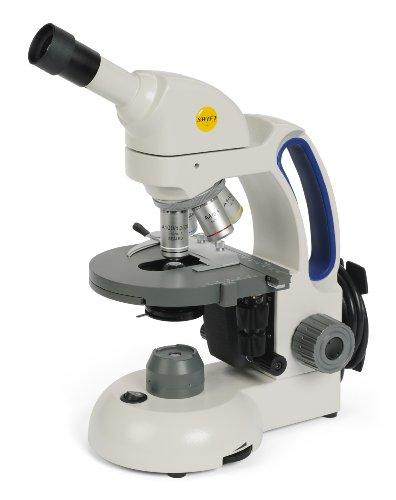 Swift Optical M3602-4 Basic Monocular Compound Microscope, WF10x Eyepiece, 40x-1000x Magnification, Brightfield, LED Illumination, Abbe Condenser, Iris Diaphragm, Mechanical Stage, 110V