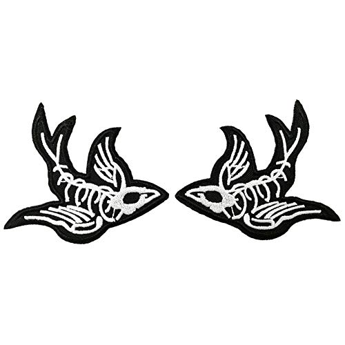 One Pair Swallow X-Ray Skeleton Embroidered Iron On Sew On Patch Heavy Metal Rock Punk Tattoo Emblem