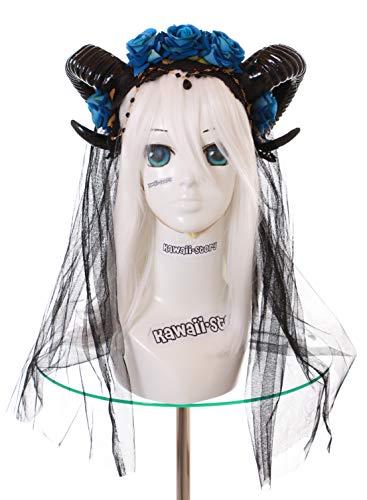 Kawaii-Story C-70-1 Widder Hörner Satan Vampir Rosen Schleier Haarreif Kopfschmuck Gothic Lolita