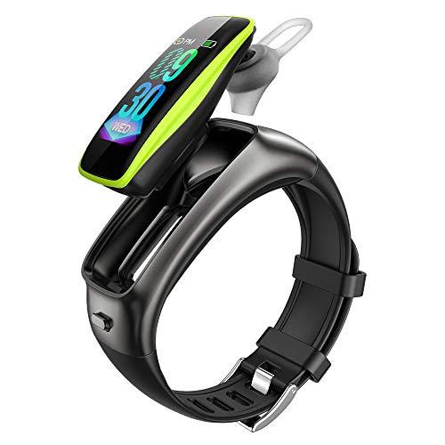 DHTOMC Reloj inteligente auricular 2-en-1 0.96 pulgadas de alta definición táctil color pantalla Bluetooth música deportes podómetro-verde