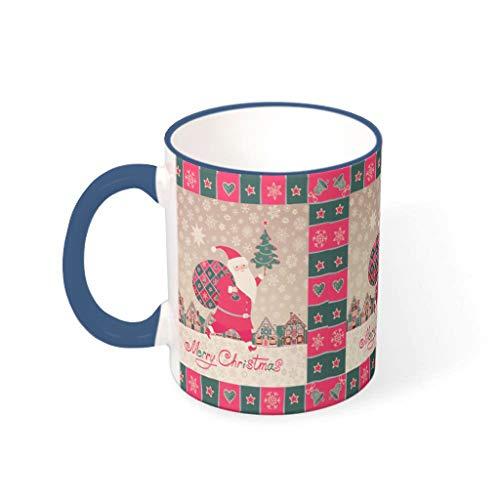 O2ECH-8 11 Unze Christmas Flower Mischen Müsli Becher Tasse mit Griff Hochwertige Keramik Retro Style Becher - Mädchen, Wohnheim verwenden Midnight Blue 330ml