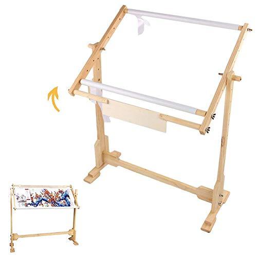 Soporte de marco para realizar punto de cruz; marco de madera ajustable con 5 niveles de altura, 9 CT