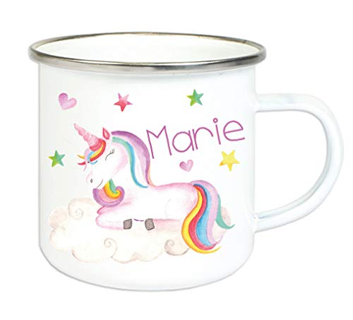 Emaillebecher für Kinder mit Wunschname Bedruckt/Tasse im Vintage Design mit Motiv und Namensdruck/Tasse 8 cm Höhe 300 ml Füllmenge (Einhorn2)