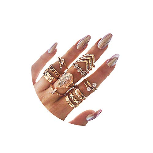 CSIYANJRY99 Boho Gold Knuckle Finger Ring Set for Women Teen Girls,Vintage Stackable Midi Stacking Rings Set (13pcs)