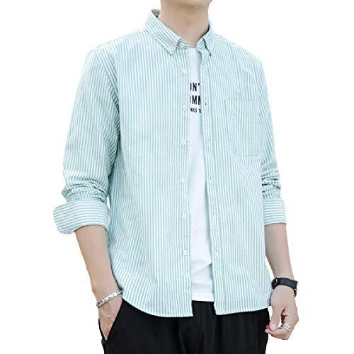 Camisa de Manga Larga a Rayas para Hombre Cárdigan Ajustado con Botones Algodón Todas Las Temporadas Camisa de Calidad con Cuello Vuelto Informal XX-Large