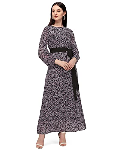 Serein Women's Georgette Fit and Flare Maxi Casual Dress