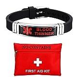 ForeverWill - Pulsera para hombre y mujer, de acero sin satén, silicona, alerta médica, antidiluyente de la sangre, pulsera de alerta médica para pacientes con diluyentes de sangre