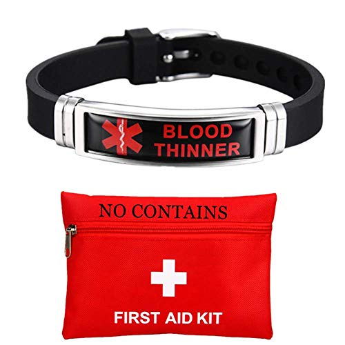 ForeverWill Men Women's Satinless Steel Silicone Medical Alert Blood Thinner Awareness Bracelet Star of Life Medic Disease Type Alarm Wristband for Blood Thinner Patient