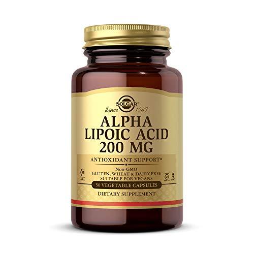 Solgar Alpha Lipoic Acid 200 mg, 50 Vegetable Capsules - Antioxidant Support - Helps to Recycle Glutathione, Vitamin C & E, CoQ-10 - Non-GMO, Vegan, Gluten Free, Dairy Free, Kosher - 50 Servings