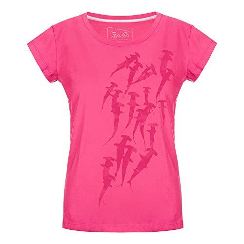 Lexi&Bö buntes Damen T-Shirt Hammerhead Swarm mit Meerestier-Druck aus Bio-Baumwolle