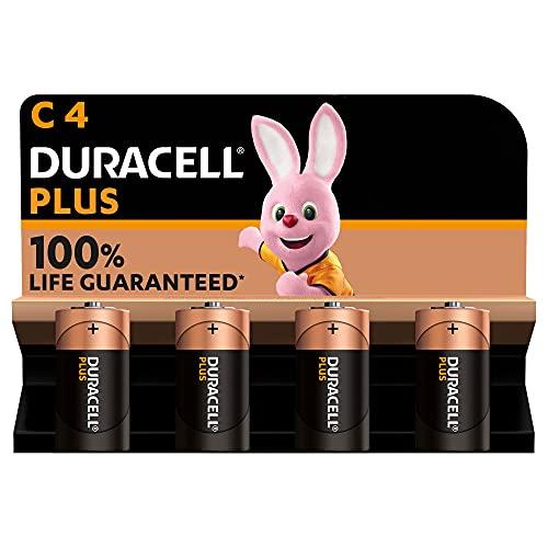 Duracell - NUEVO Pilas alcalinas Plus C , 1.5 Voltios LR14 MN1400, paquete de 4