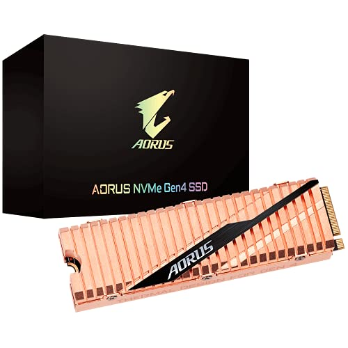 Gigabyte AORUS Nvme Gen4 M.2 500GB PCI-Express 4.0 Interface High Performance Gaming, Full Body Copper Heat Spreader, Toshiba 3D NAND, DDR Cache Buffer, 5 Year Warranty SSD GP-ASM2NE6500GTTD
