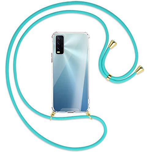 mtb more energy® Handykette kompatibel mit vivo Y20s, vivo Y11s (6.51'') - türkis/Gold - Smartphone Hülle zum Umhängen - Anti Shock Strong TPU Hülle
