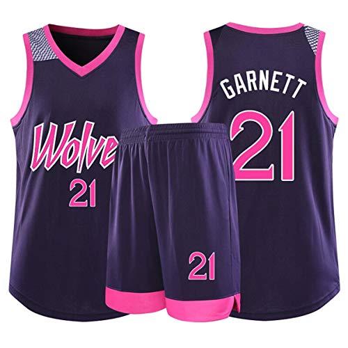 RL Timberwolves 21# Garnett Basketball Trikots, 22# Wiggins Sportweste Kurze Hose Sportbekleidung Zweiteiliges Set, Kurzarm(2XS-5X),A/Purple,4X