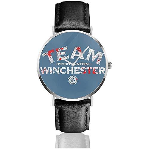 Supernatural Demon Huntars Team Winchester Uhren Quarzlederuhr mit schwarzem Lederband für Sammlungsgeschenk