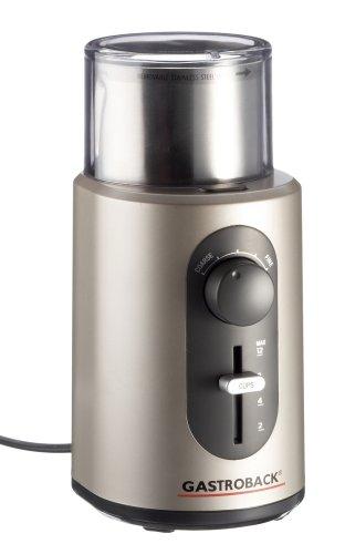 Gastroback 42601 Design Kaffeemühle Basic, Edelstahl-Schneidemesser-System, Mahlgradeinstellung mit 5 Feinheitsgraden von Filterkaffee bis Espresso, 18/8