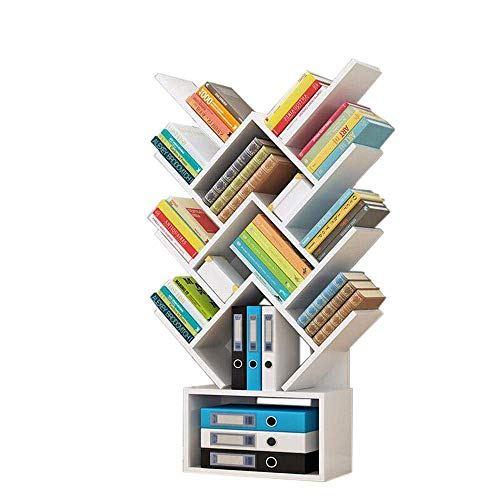 Estantes de decoración de muebles Estantería en forma de árbol Organizador de libros artístico de pie en el piso Dormitorio Oficina Sala de estar Estante de la torre de la columna vertebral 5 color