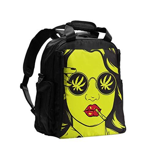 Bolsas de pañales para adultos Cool Hip Hop Girl Camiseta a rayas Sombrero Gafas de sol Bolsa de pañales Mochila Mujeres Mochila de viaje multifunción con pañal Almohadilla para el cuidado del bebé