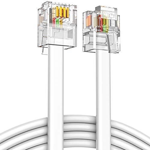 Ancable RJ11 Cavo telefonico ADSL 10M, 6P4C Spina telefonica ad alta velocità Internet banda larga maschio a maschio Router e modem a RJ11 Phone Flat Cable per modem fisso accessorio bianco