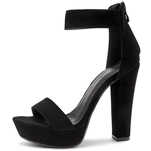 Shoe Land SL-CUTESY Women's Open Toe Ankle Strap Chunky Platform Dress Heel Sandal Black 11.0