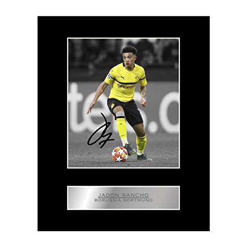 Jadon Sancho Foto mit Autogramm, Borussia Dortmund #01, gedrucktes Autogramm, Geschenk