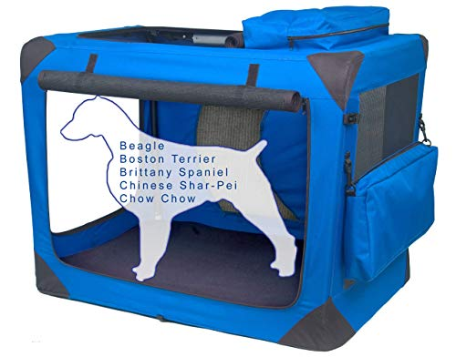 Pet Gear 3 Door Portable Soft Crate Folds Compact for Travel in Seconds No Tools Required Comes with Comfort Pad  Storage Bag Steel Frame Premium 600D Fabric Indoor/Outdoor