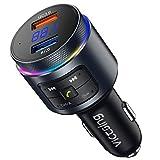 VicTsing Transmetteur FM Bluetooth Voiture Kit Main Libre Voiture Bluetooth Double Port de Chargeur Rapide QC3.0 Assistant Google/Siri Musique HiFi Double Micro Opération Facile