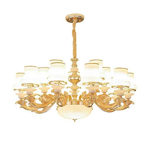 GYC Estilo Europeo Sala de Estar Candelabro de Cristal Lámpara de Vela Comedor Moderno Lámpara de Cocina Lámpara de Dormitorio Lámpara de araña Doble (Tamaño: 18 Cabezas)