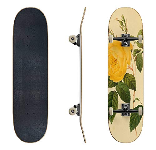 Skateboards Drawing of a Yellow Tea Rose with Green Leaves Rose Stock Classic Concave Skateboard Cool Stuff Teen Gifts Longboard Extreme Sports for Beginners and Professionals