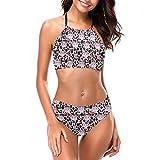 Delerain Traje de baño halter de cuello alto para mujer con estampado de leopardo, conjunto de bikini de 2 piezas, tallas S a XXL - - X-Large