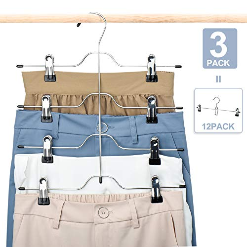 HOUSE DAY Skirt Hangers 4 Tier Shorts Hangers with Clips,3 Pack Space Saving Pants Hangers,Multi Slack Skirt Hanger Metal Trouser Clip Hangers for Slack,Trouser,Jeans,Towels