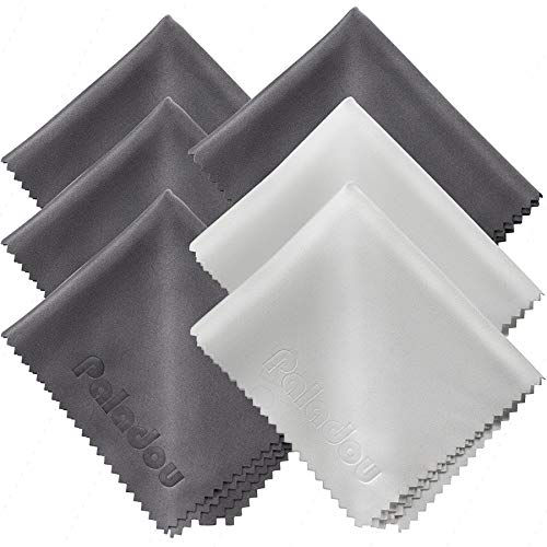 Paladou Microfiber Cleaning Cloths, 6 Pack 6x 7 - Perfect for Cleaning Lenses,Glasses, Screens, Cameras, Eyeglasses, Cell Phone, LCD TV Screens,Tablets and More Electronics