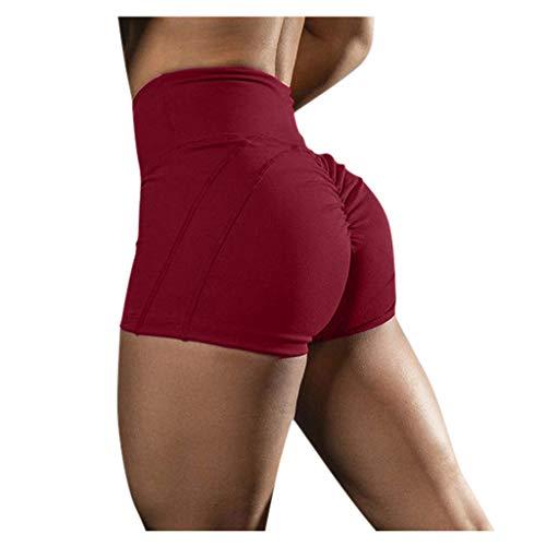 Short de Sport Legging Femme Taille Haute Short Moulant de Yoga Loisir Musculation Pantalon Court Jogging Short de Course Pas Cher