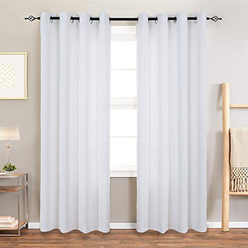 """White Curtains for Living Light Filtering Curtains for Bedroom Grommet Window Curtains Panels 52"""" W x 95"""" L 2 Panels"""