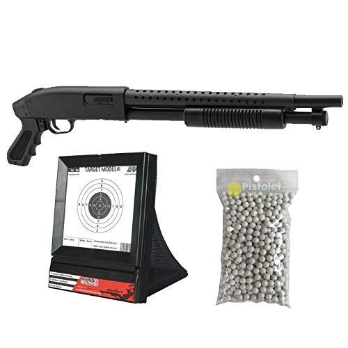 Pack complet Airsoft M500 Court/Fusil à Pompe à Ressort/métal-ABS/Rechargement Manuel (0.5 Joule)-Livré avec Accessoires