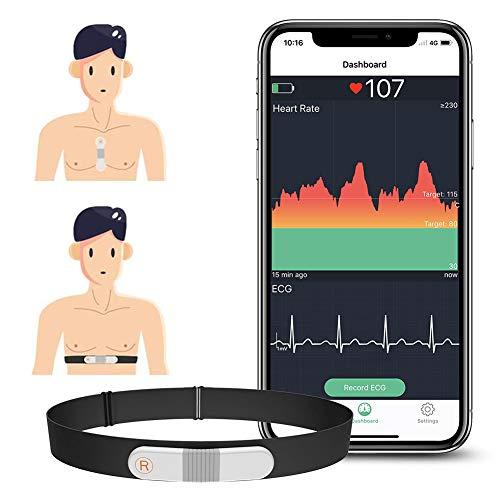 Wellue VisualBeat Brustgurt/Riemenfrei Herzfrequenzmesser, ANT +, Bluetooth , 24-Stunden-Herzfrequenzmessung, APP mit EKG-Funktion, Tragbarer Herzfrequenz-Sensor mit Vibrationsalarm