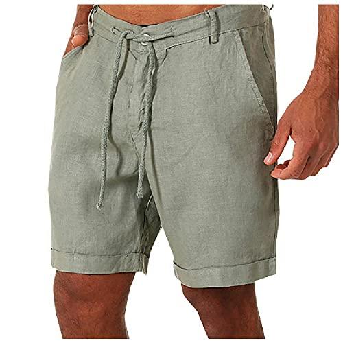 N\P Hombres Pantalones Cortos Delgados De Verano De Los Hombres Pantalones Cortos Casuales Botones Con Cordones Cintura