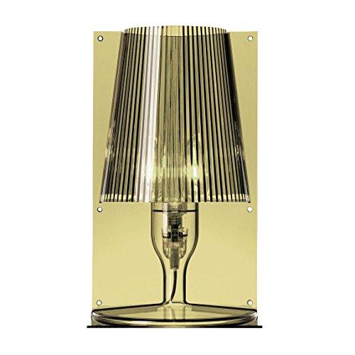 Kartell tafellamp Take blauw transparant design olijfgroen/transparant/scherm geplooid
