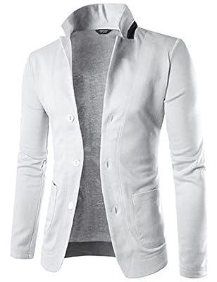 COOFANDY Mens Casual Slim Fit Blazer 3 Button Suit Sport Coat Lightweight Jacket (Medium, Type 1 White) from