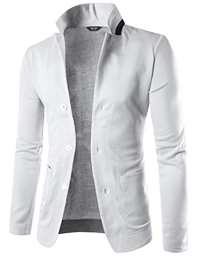 COOFANDY Mens Casual Slim Fit Blazer 3 Button Suit Sport Coat Lightweight Jacket (Medium, Type 1 White)