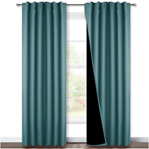 Nicetown - Cortinas opacas para decoración de habitaciones de lavandería, cortinas térmicas y cortinas para decoración de ventanas, aislamiento térmico, para casa, pasillo y estudio, verde azulado marino, 2 unidades, 132 x 241,3 cm